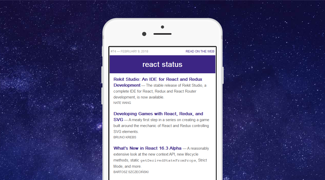 React Status newsletter image