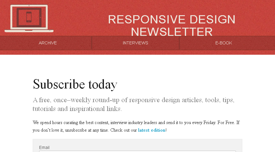 Responsive Design Weekly newsletter image