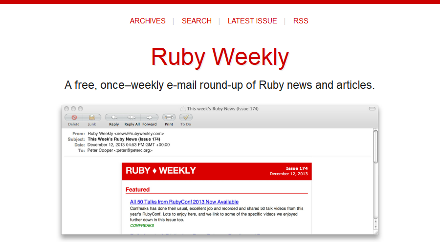 Ruby Weekly newsletter image