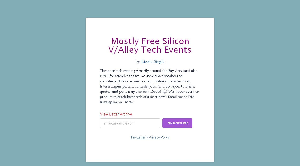 Mostly Free Silicon V/Alley Tech Events newsletter image