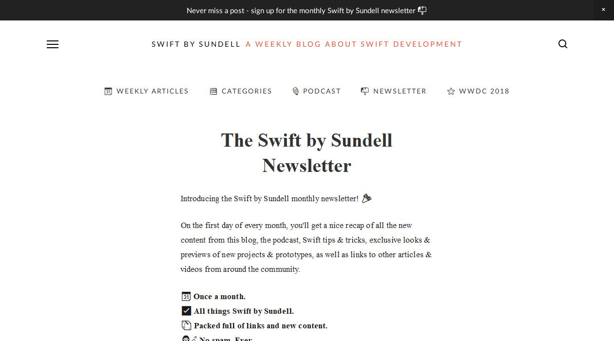 Swift by Sundell newsletter image