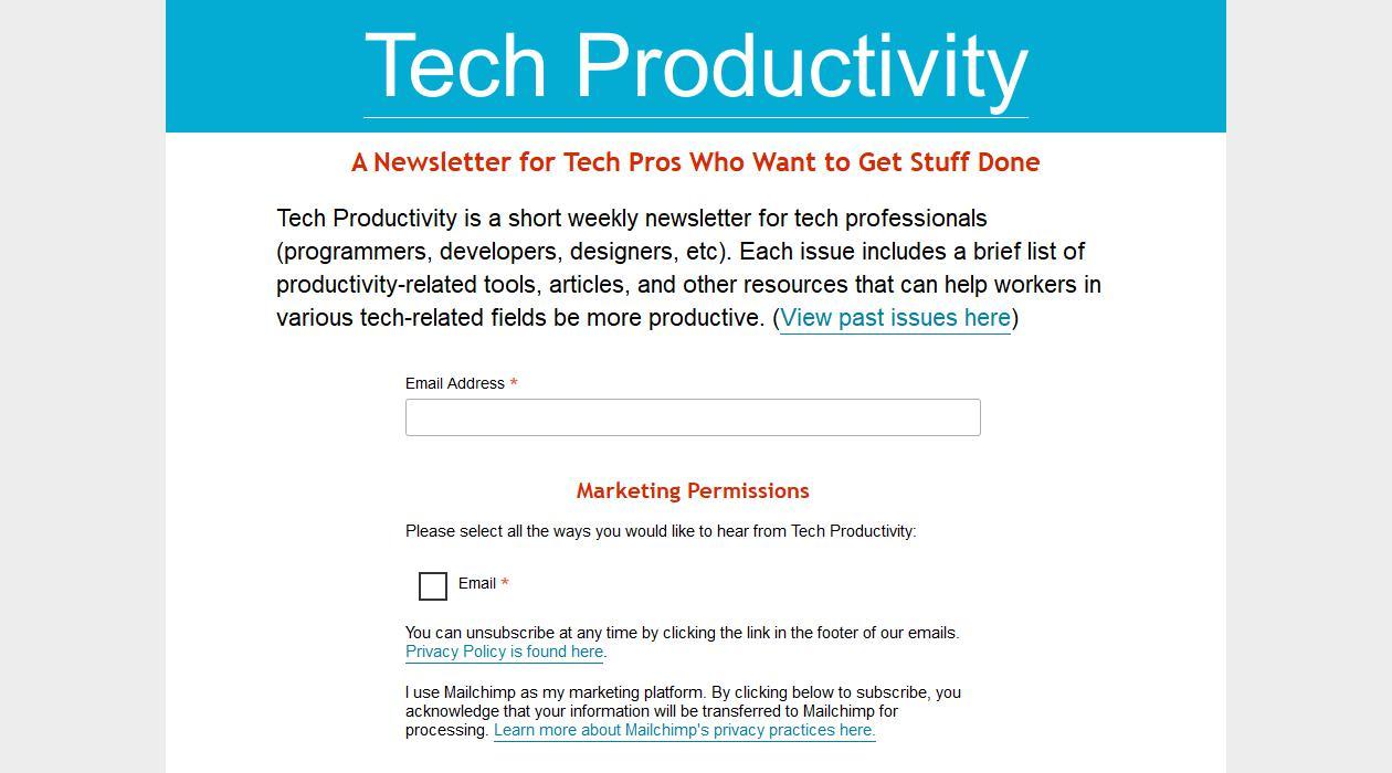 Tech Productivity newsletter image