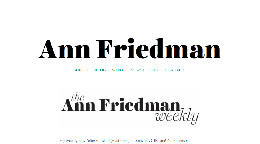 The Ann Friedman Weekly newsletter image