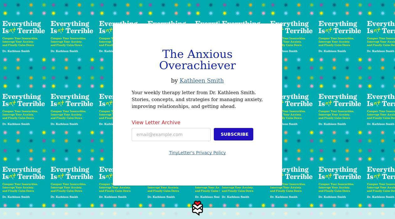 The Anxious Overachiever newsletter image