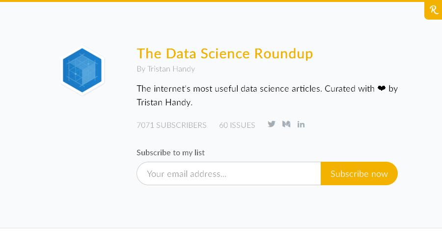 The Data Science Roundup newsletter image