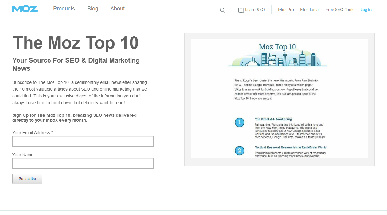 The Moz Top 10 newsletter image