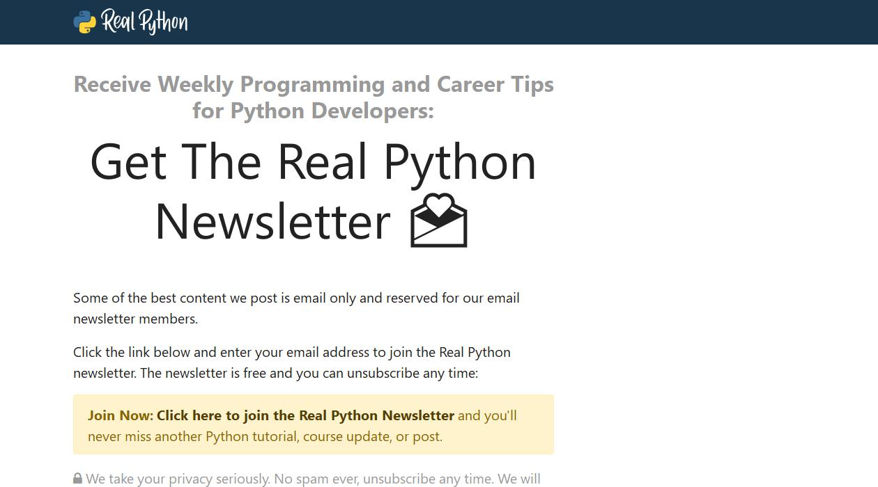 The Real Python Newsletter newsletter image