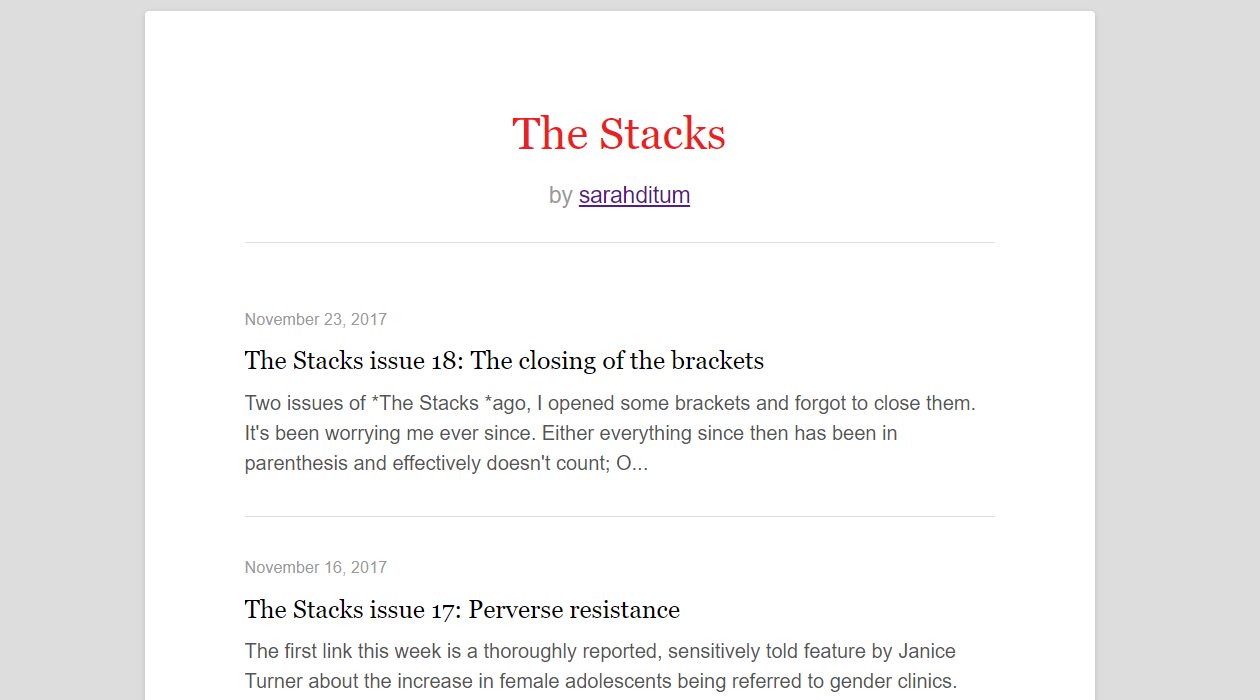 The Stacks by Sarah Ditum newsletter image