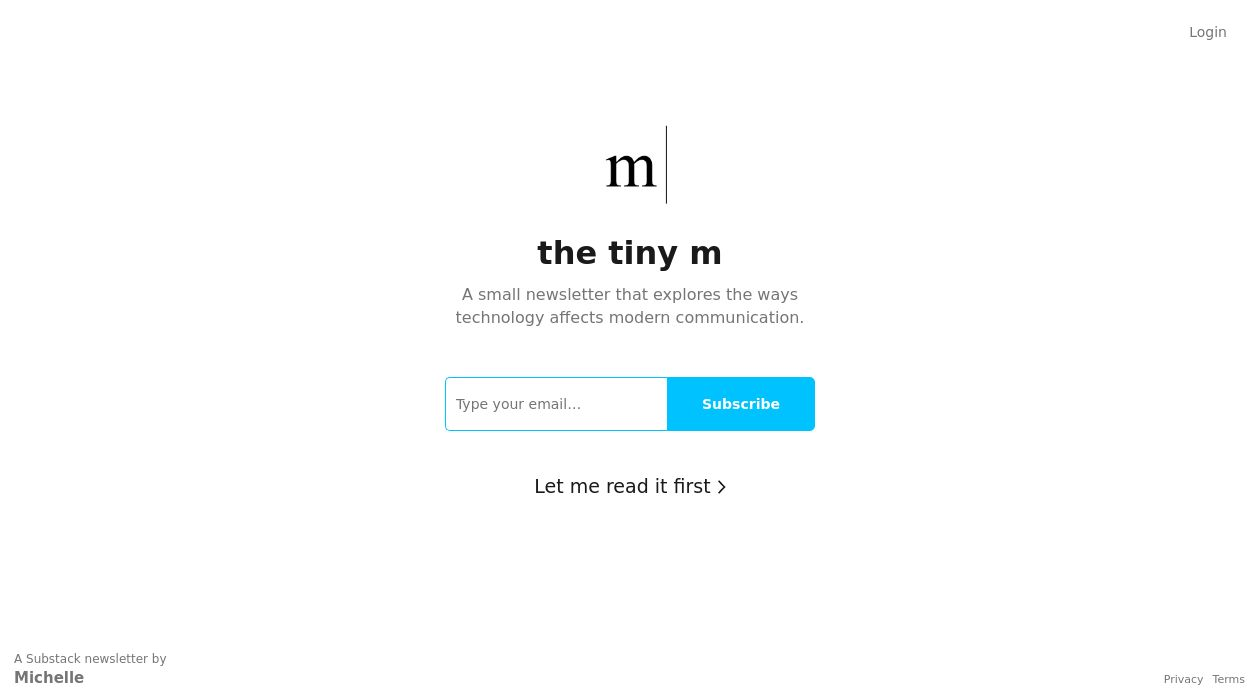 the tiny m newsletter image