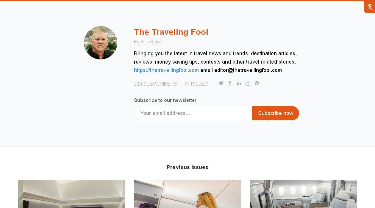 The Traveling Fool newsletter image