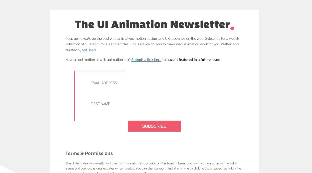 The UI Animation Newsletter newsletter image