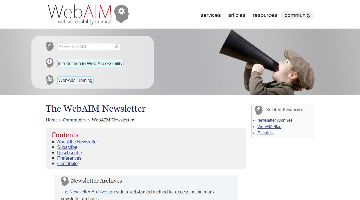 The WebAIM Newsletter newsletter image