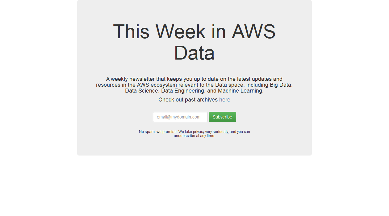 This Week in AWS Data newsletter image