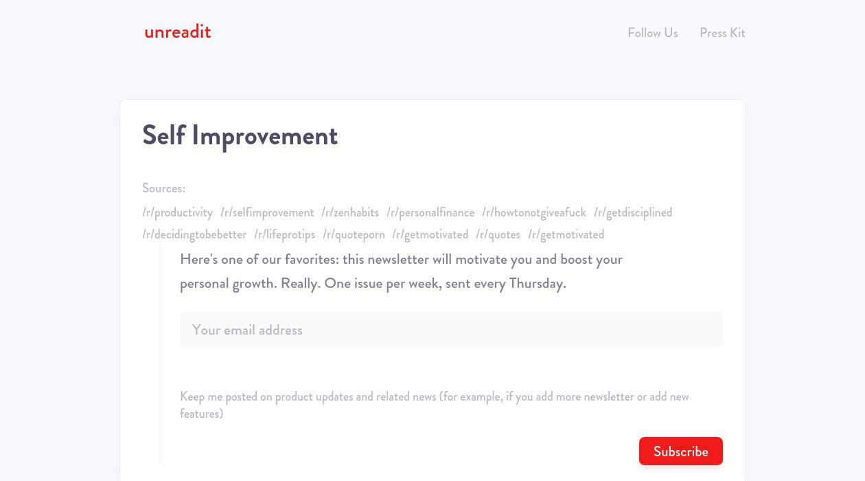 Unreadit/Self Improvement newsletter image