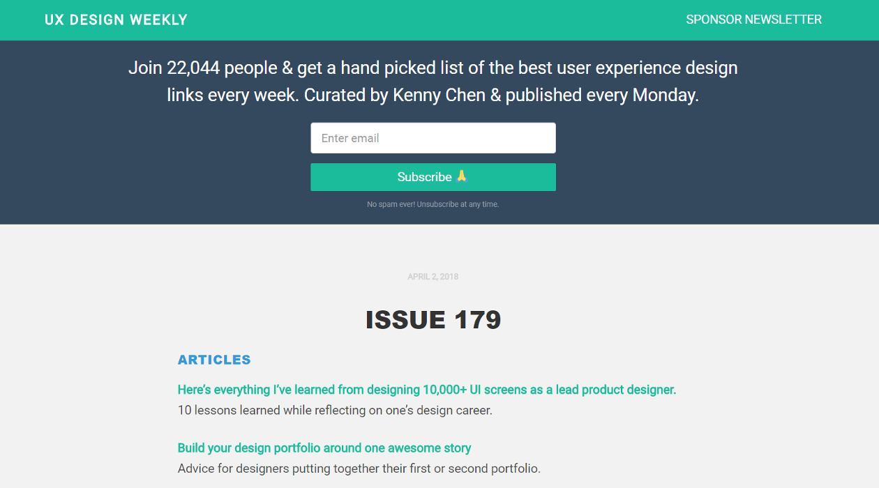 UX Design Weekly newsletter image