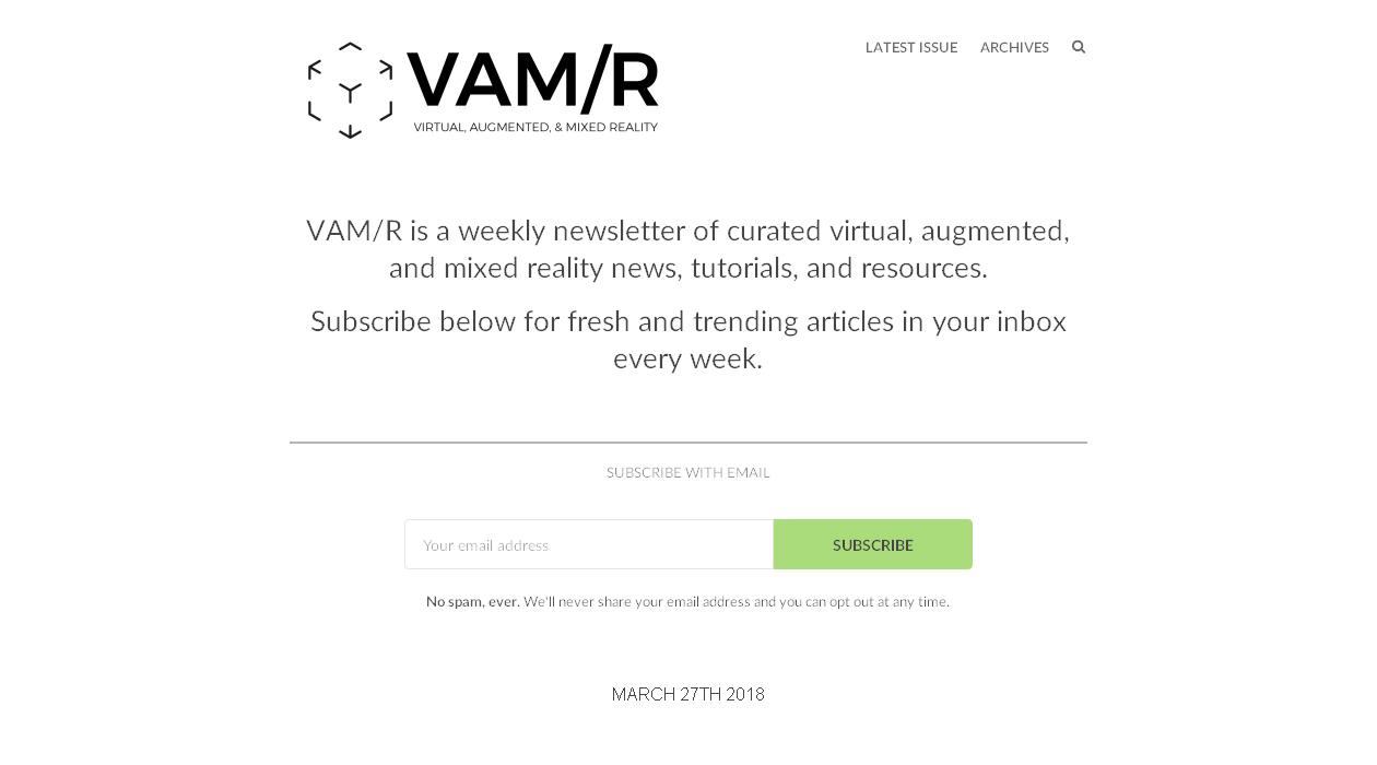 VAM/R newsletter image