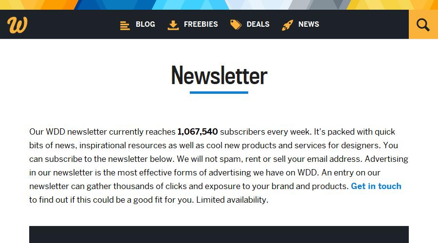 Web Designer Depot newsletter image
