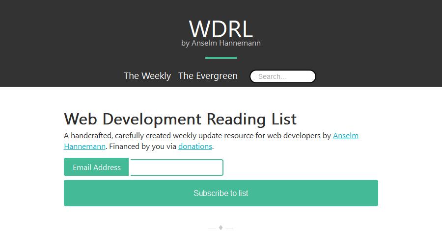Web Development Reading List newsletter image