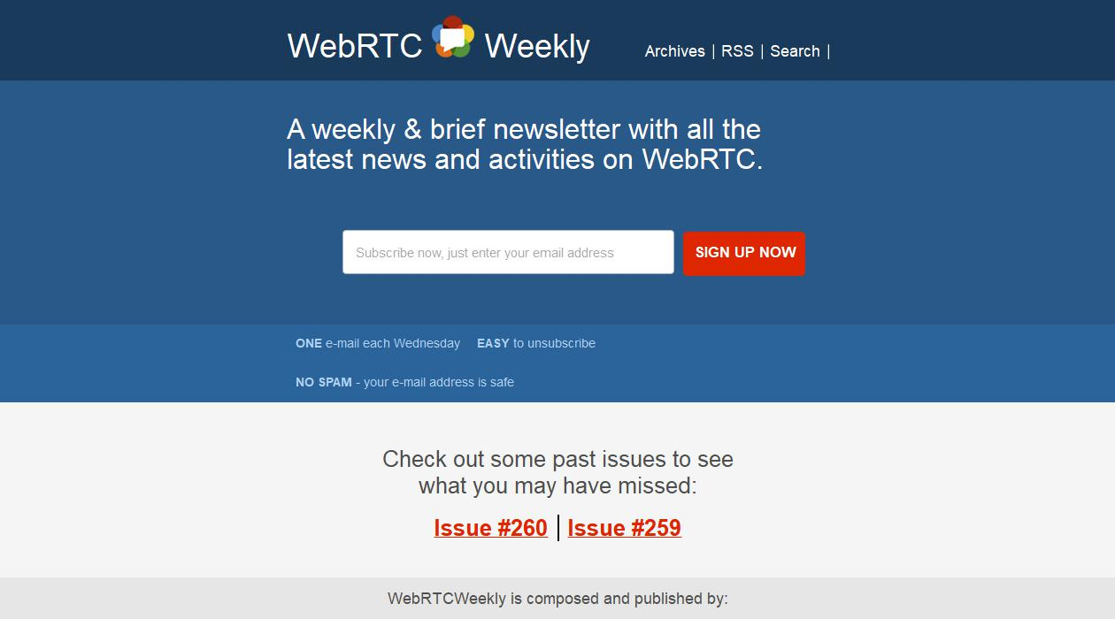 WebRTC Weekly newsletter image