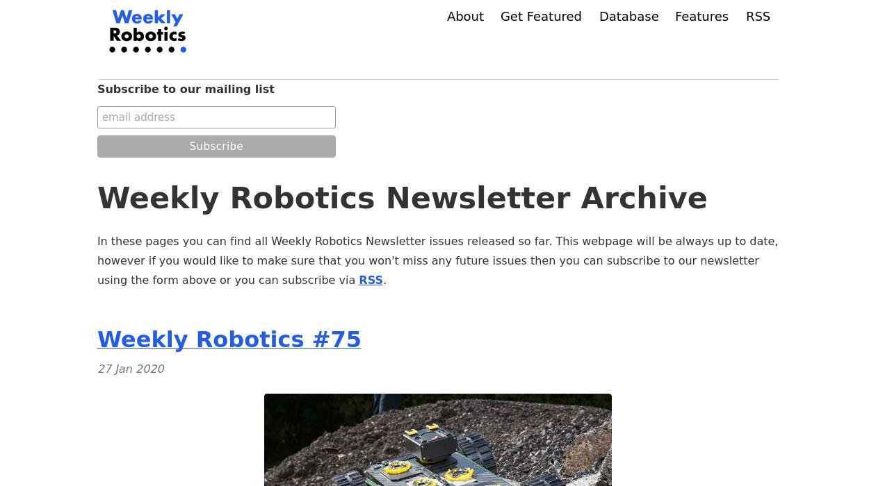 Weekly Robotics newsletter image