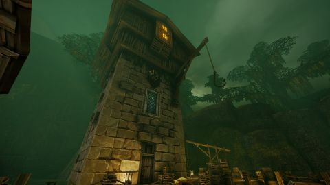 Majestátní věž tyčící se v cruxfirthském přístavu
