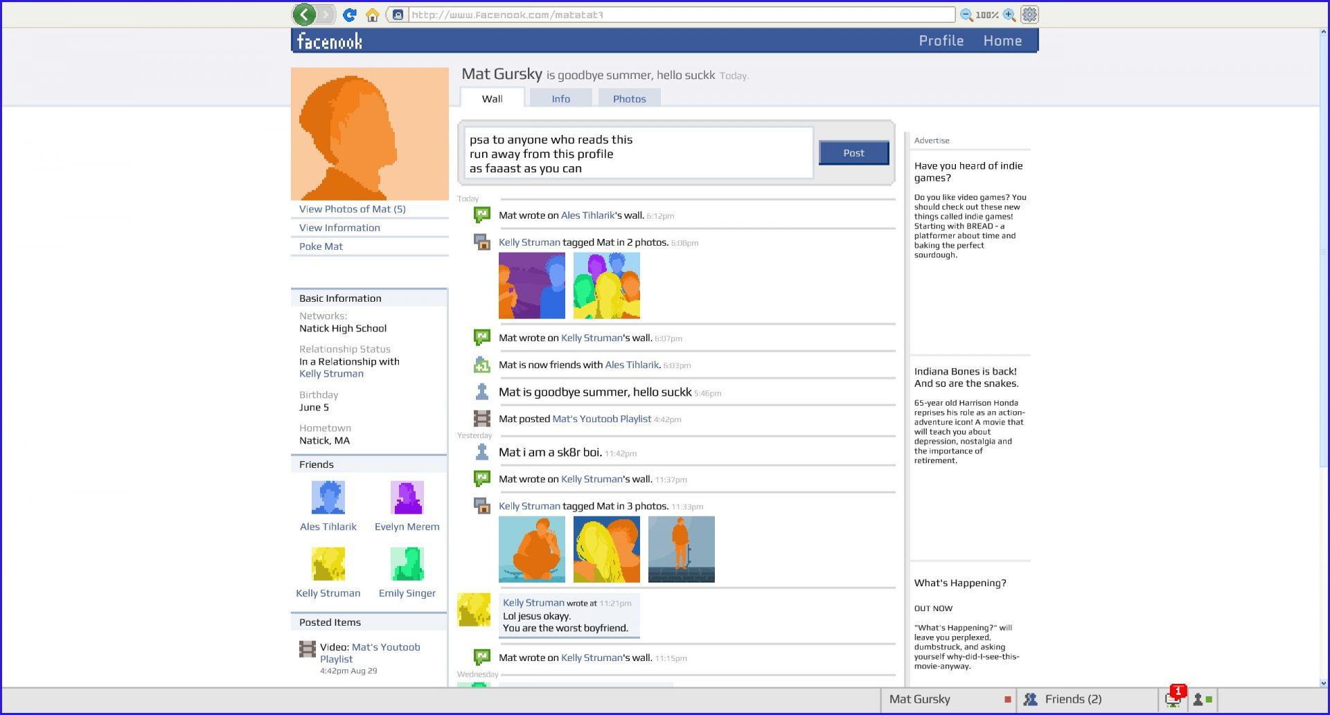 Mimo chatování si občas užijete i psaní statusů na cizí profily, což byla v roce 2008 fantastická zábava