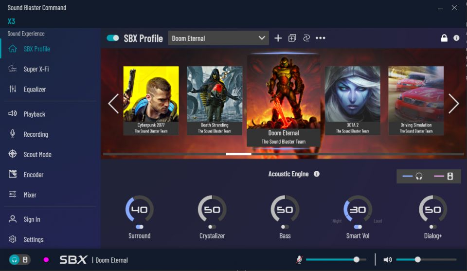 Při hraní je možné využít přednastavených profilů pro specifické žánry či dokonce tituly