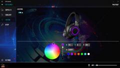 Barvu podsvícení si můžete vybrat z celé RGB palety, mimo vypnutého podsvícení, stálé barvy a pulzující duhy však nelze vybrat žádný další vzor