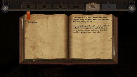 """Na rozdíl od většiny zástupců """"neoretro"""" vlny disponuje Graven i RPG prvky. Deník se ovšem bude hodit hlavně v plné verzi, v Early Accessu do něj nestihnete zapsat mnoho informací..."""
