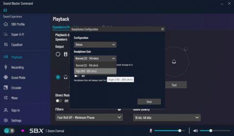 Sound Blaster Command vás nechá nastavit i pokročilejší funkce jako kvalitu zvuku či gain, za případná poškozená sluchátka ovšem Creative samozřejmě neruší