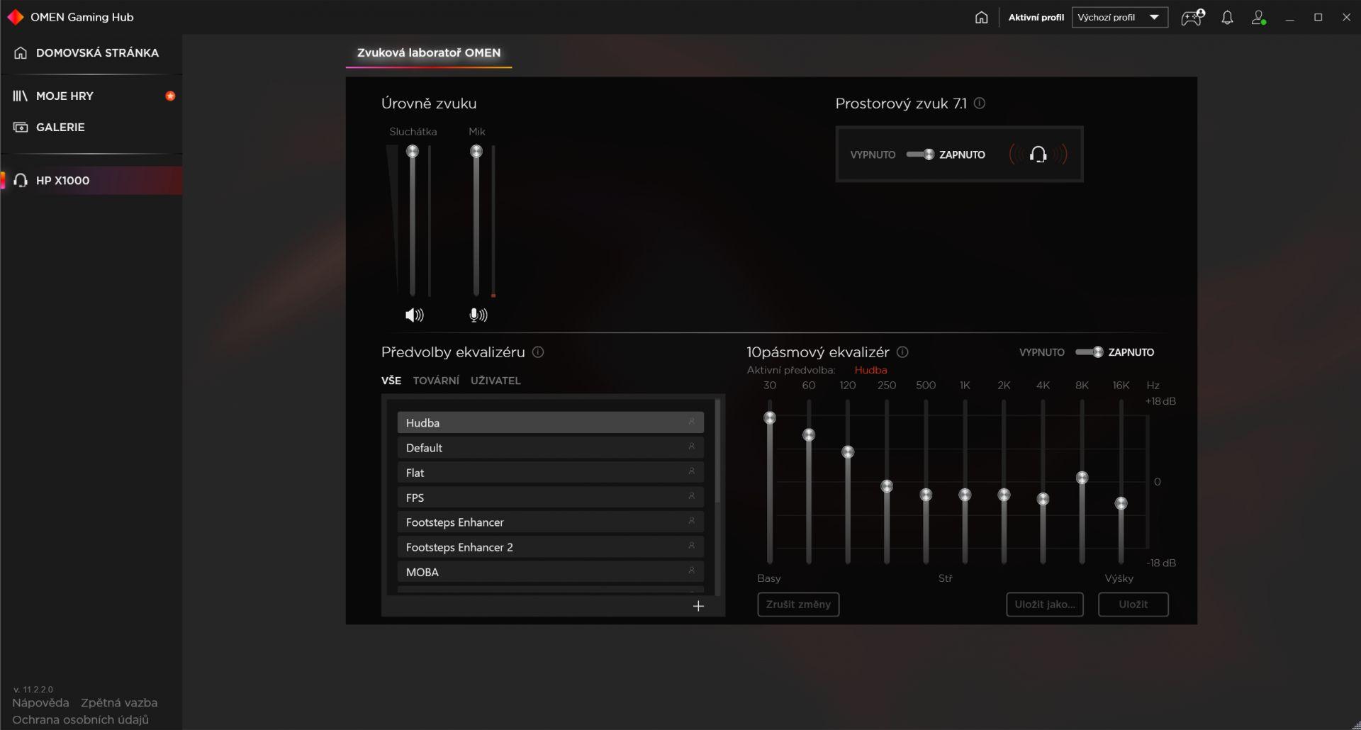 Nastavení ekvalizéru v OMEN Gaming Hub