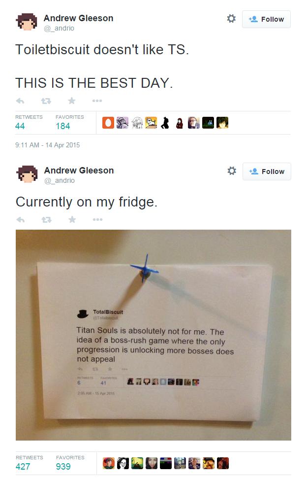 Výtvarník Andrew Gleeson si Tweet slavného youtubera přišpendlil na ledničku