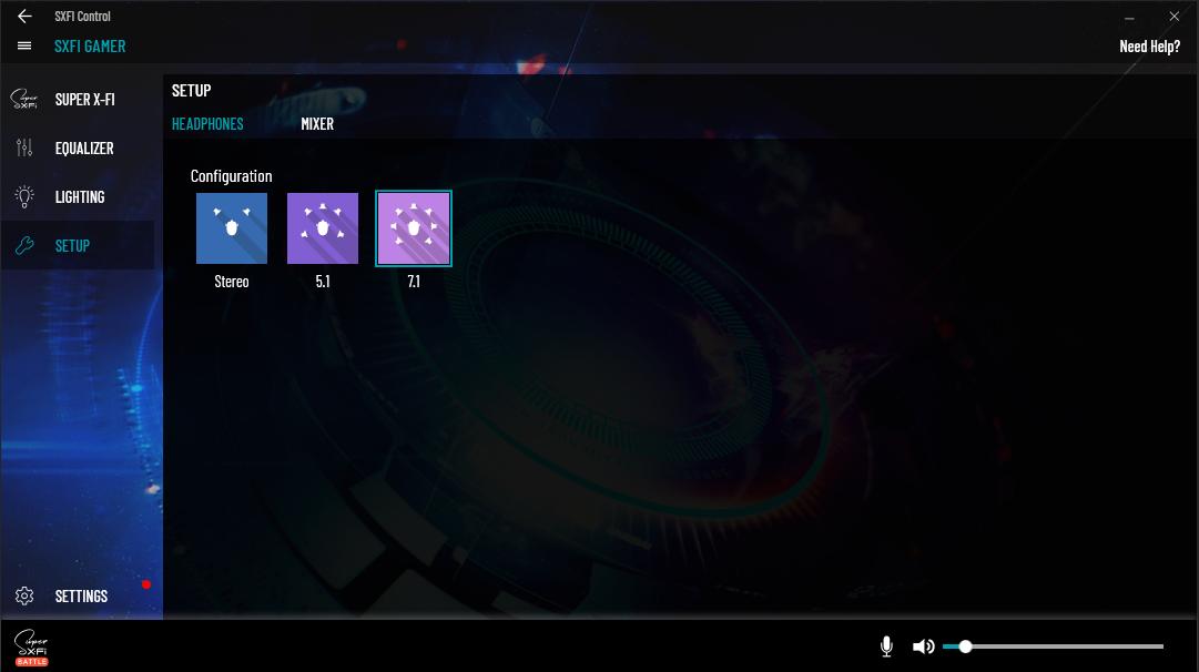 Konfigurace zvuku lze nastavit jedním kliknutím