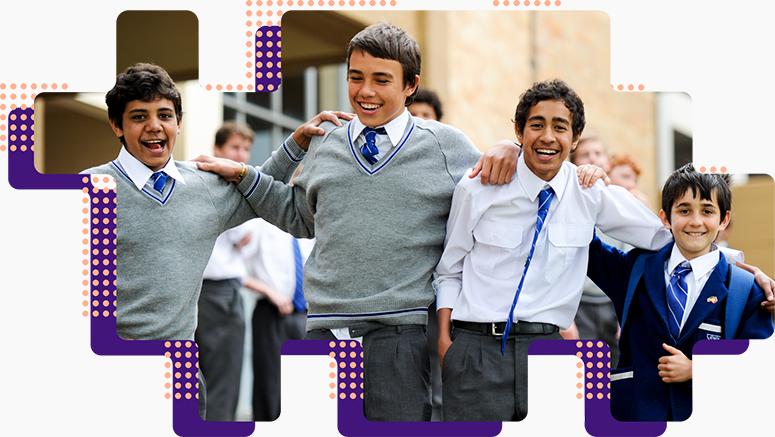 Group of boys smiling in school uniform