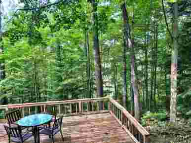 Hunger & Ransom Sage Lake Cabin, Hale, MI · Backyard Deck Completely Hidden from the Rest of the World