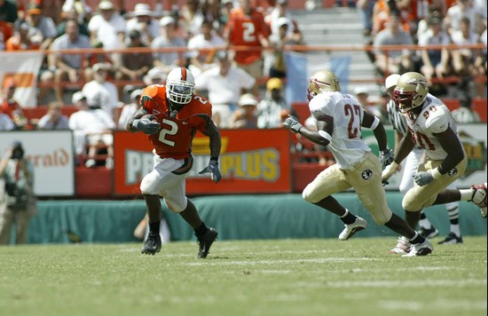 Willis McGahee finished with 95 yards rushing and 78 receiving in a 28-27 win at the Orange Bowl in 2002.