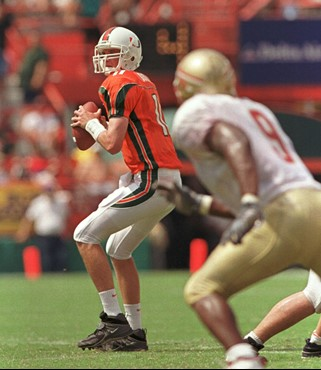 Ken Dorsey threw for 328 yards in a 27-24 win in the Orange Bowl in 2000.