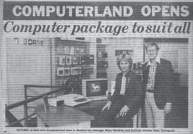 Newspaper clipping describing the opening of the ComputerLand store in Gosford, 1982