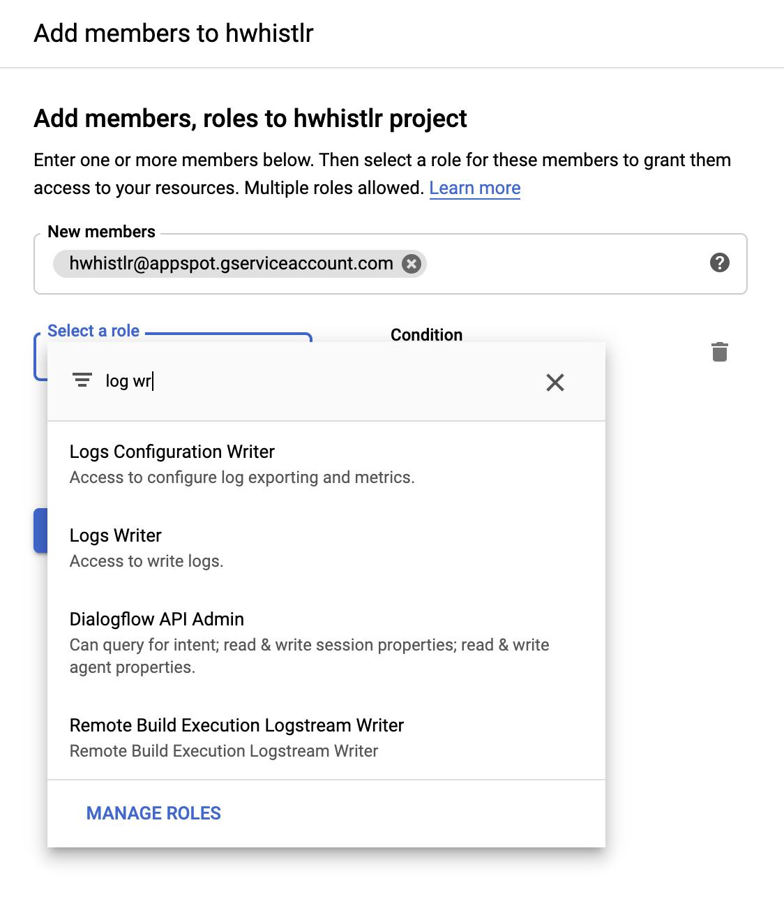 The Google Cloud IAM page