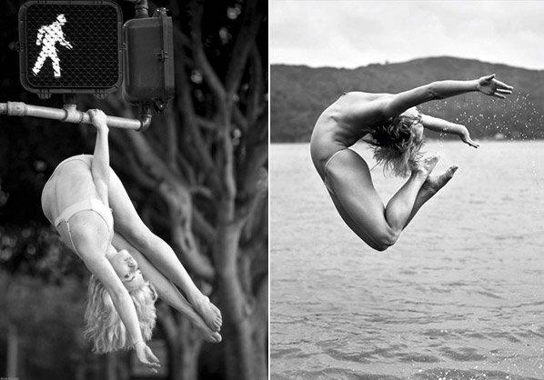 Série de fotos mostra artistas fazendo acrobacias em lugares inimagináveis