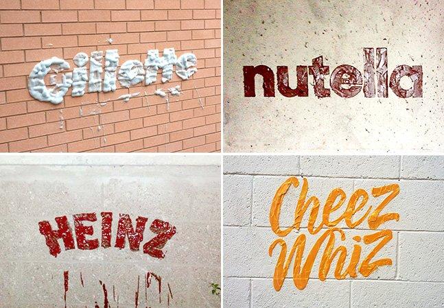 Artista espalha logo de marcas famosas usando o seu produto como tinta