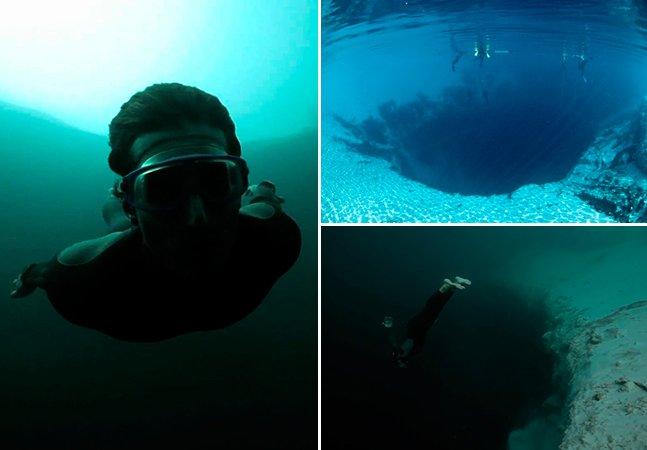 Mergulhador faz base jumping em gruta submarina com 200 metros de profundidade. O resultado é assustador.