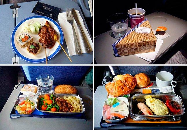 Fotógrafo cria série de fotos mostrando comidas servidas em aviões por diferentes cias aéreas