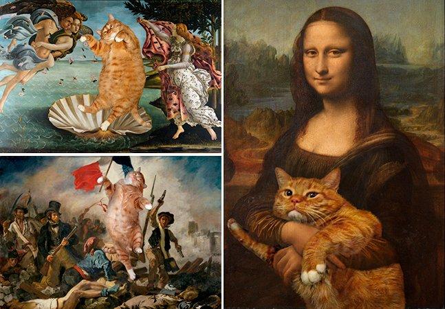Artista leva memes de gato a um novo patamar ao inserir seu bichano em pinturas famosas