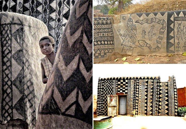 Cada casa desta vila em Burkina Fasso é uma verdadeira obra de arte