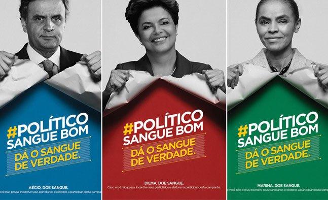 Campanha desafia os candidatos à presidência do Brasil a doar sangue