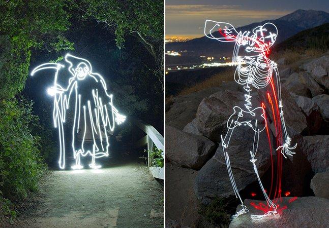 Os incríveis desenhos de luz feitos em longa exposição do artista Darren Pearson