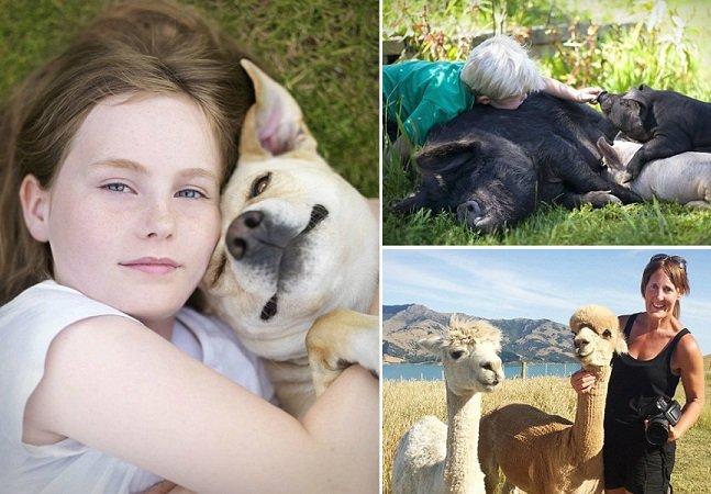 Fotógrafo viaja para retratar o amor entre crianças e seus pets  – que vão de porcos até galinhas