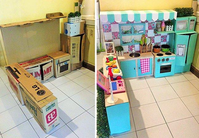 Mãe mostra como construíu esta cozinha maravilhosa pra filha usando apenas caixas de papelão