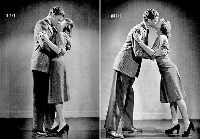 Este maravilhoso guia dos anos 1940 mostra como beijar corretamente